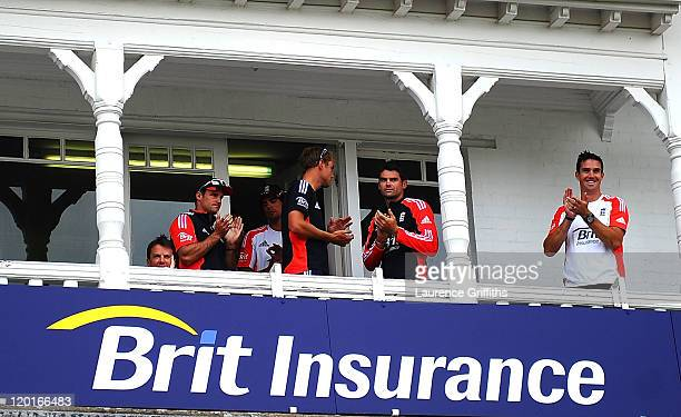 The England players applaud the Indian team after Ian Bell of England is re instated in the spirit of the game after being given run out on the...