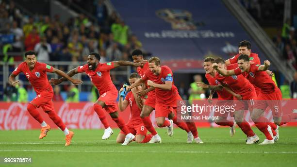 The England players celebrate after Eric Dier of England scores the winning penalty in the penalty shoot out during the 2018 FIFA World Cup Russia...