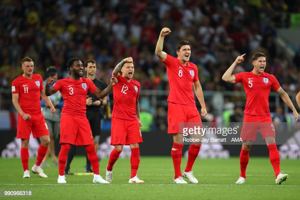 The England players celebrate during a penalty shootout at the end of extra time during the 2018 FIFA World Cup Russia Round of 16 match between...