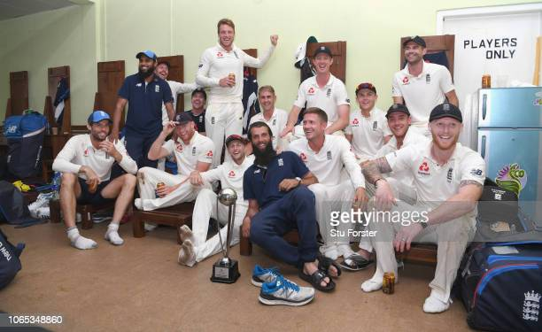 The England players celebrate in the dressing room after their 30 series victory during Day Four of the Third Test match between Sri Lanka and...