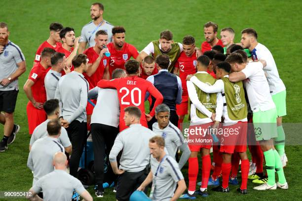 The England players form a team huddle before extra time during the 2018 FIFA World Cup Russia Round of 16 match between Colombia and England at...