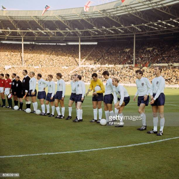The England players line up before the match Bobby Moore George Cohen Alan Ball Roger Hunt Ray Wilson Nobby Stiles Gordon Banks Geoff Hurst Bobby...