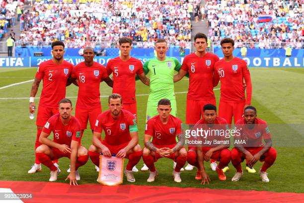 The England players line up for a team photo prior to the 2018 FIFA World Cup Russia Quarter Final match between Sweden and England at Samara Arena...