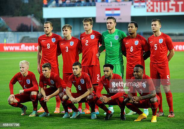 The England players pose for a team photo before the UEFA U21 Championship Playoff Second Leg match between Croatia and England at the Stadion Hnk...