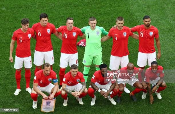 The England players pose for a team photo prior to the 2018 FIFA World Cup Russia 3rd Place Playoff match between Belgium and England at Saint...