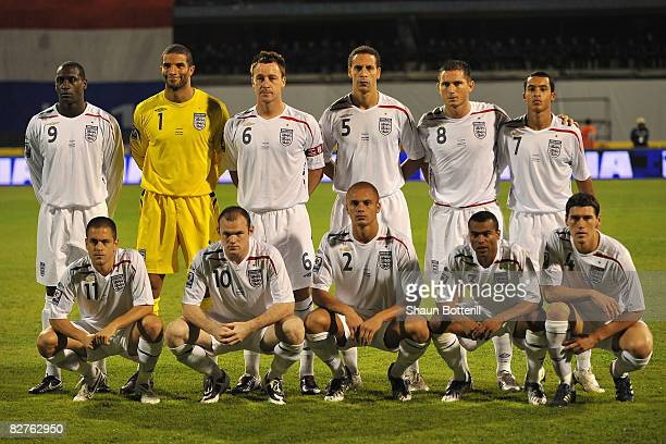 The England players pose for a team photo prior to the FIFA 2010 World Cup Qualifying Group Six match between Croatia and England at the Maksimir...