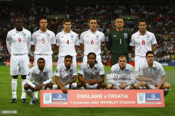 The England players pose for a team photo prior to the FIFA 2010 World Cup Group 6 Qualifying match between England and Croatia at Wembley Stadium on...
