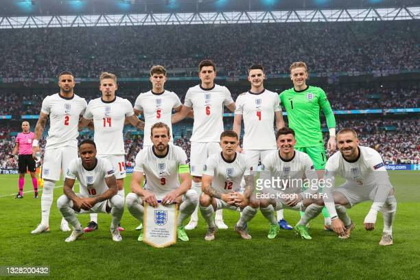 The England players pose for a team photo prior to the UEFA Euro 2020 Championship Final between Italy and England at Wembley Stadium on July 11,...
