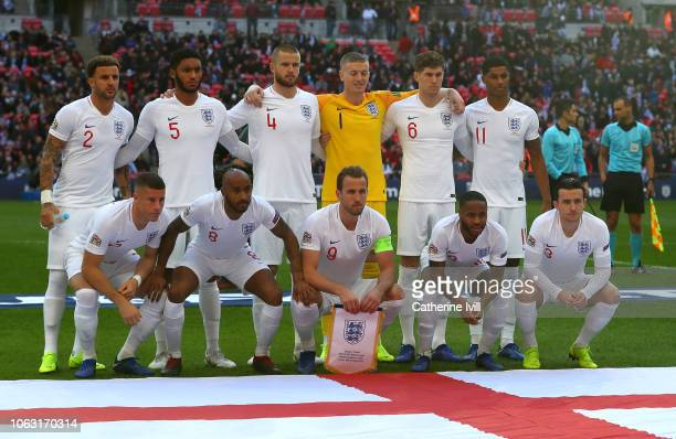The England players pose for a team photo prior to the UEFA Nations League A group four match between England and Croatia at Wembley Stadium on...