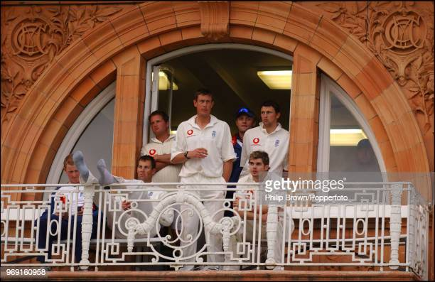 The England players relax on the balcony after winning the 1st Test match against Zimbabwe at Lord's Cricket Ground London 24th May 2003 Pictured are...