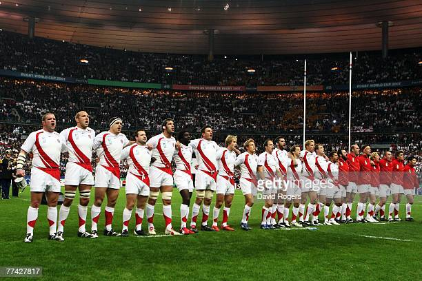 The England players sing their national anthem prior to the 2007 Rugby World Cup Final between England and South Africa at the Stade de France on...