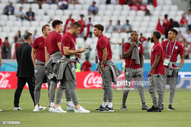 The England players speak during a pitch inspection prior to the 2018 FIFA World Cup Russia group G match between Tunisia and England at Volgograd...