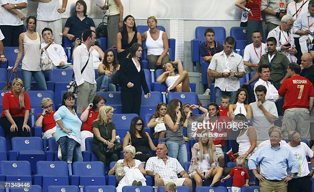 The England player's wives and girlfriends look dejected following England's defeat in a penalty shootout at the end of the FIFA World Cup Germany...