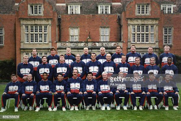 The England Rugby Union World Cup squad for 1991 Back row L to R Simon Hodgkinson David Pears Nigel Heslpo Dewi Morris Paul Rendall Gary Rees Jason...