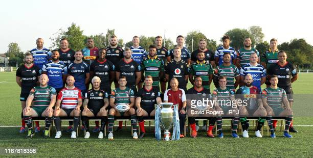 The England Rugby World Cup Squad pose for a picture wearing their Gallagher Premiership Rugby shirts Back Row Jonathan Joseph of Bath Rugby Jamie...