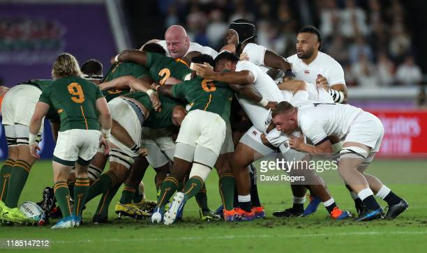 The England scrum is pushed back during the Rugby World Cup 2019 Final between England and South Africa at International Stadium Yokohama on November...