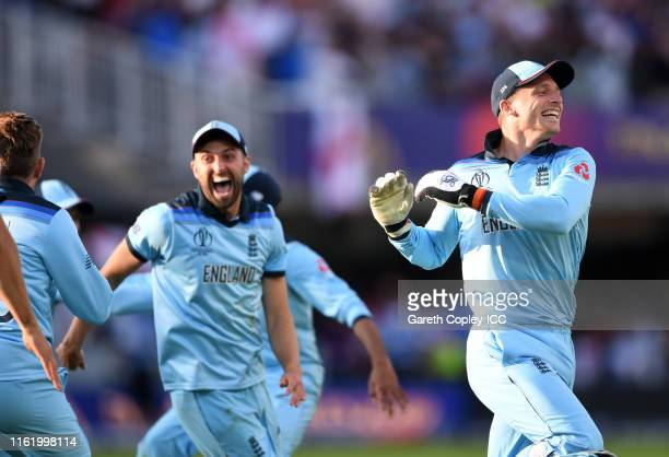 The England side celebrate after winning the Cricket World Cup during the Final of the ICC Cricket World Cup 2019 between New Zealand and England at...