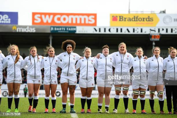 The England side line up for the national anthems during the Womens Six Nations match between England and Italy at Sandy Park on March 09 2019 in...