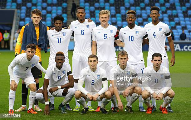 The England side line up prior to the U19 International friendly match between England and Japan at Manchester City Academy Stadium on November 15...