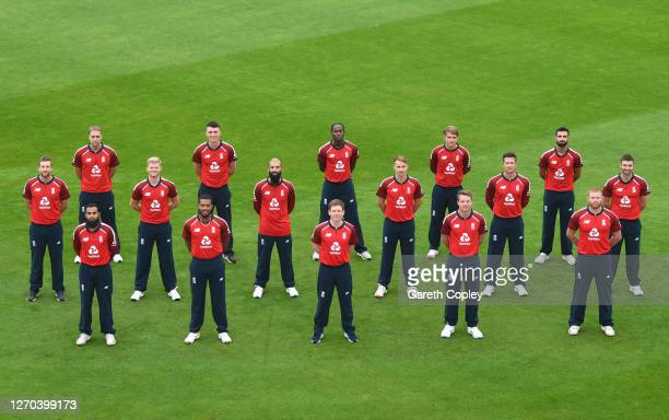 The England side pose for a socially distanced team picture Back Liam Livingstone Tom Banton Jofra Archer Sam Curran and Saqib Mahmood Middle Dawid...