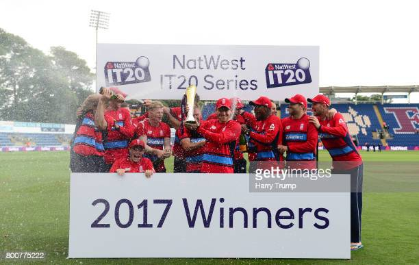 The England side pose with the trophy during the 3rd NatWest T20 International between England and South Africa at the SWALEC Stadium on June 25 2017...