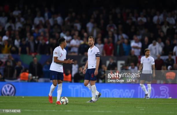 The England side react after conceding a second goal during the UEFA Nations League SemiFinal match between the Netherlands and England at Estadio D...