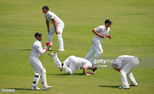 The England slip cordon react after a chance evades them during day two of the 2nd Test match between Bangladesh and England at ShereeBangla National...