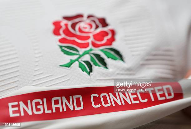 The England slogan England Connected which is to encompass all England teams is shown on the inside of the shirt during the official launch of the...