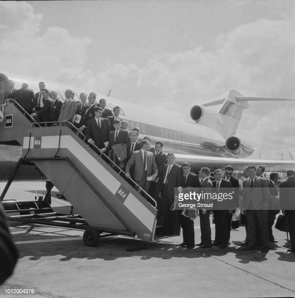 The England soccer team embarking a plane for a continental tour before the 1966 Fifa World Cup UK 26th June 1966