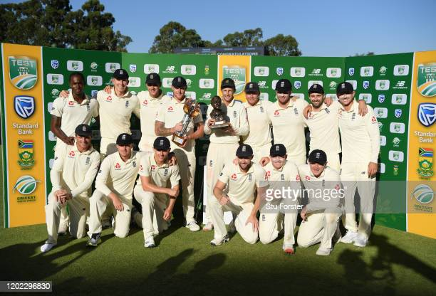 The England squad celebrate with the trophy after their 3-1 series win after Day Four of the Fourth Test between South Africa and England at...
