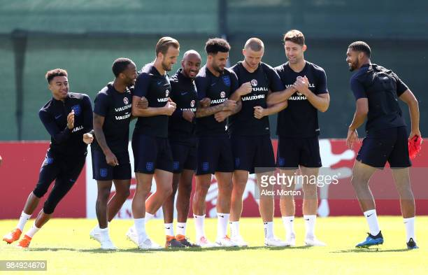 The England squad in good spirits during an England training session on June 27 2018 in Saint Petersburg Russia