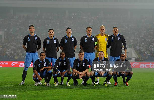 The England squad line up during the UEFA EURO 2012 group G qualifying match between Bulgaria and England at the Vasil Levski National Stadium on...