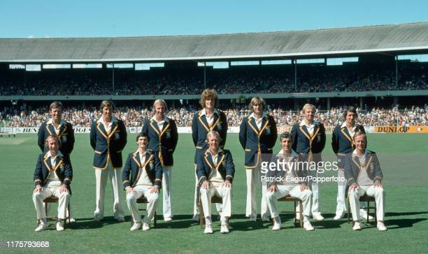 The England squad line up for a team photo before the Centenary Test match between Australia and England at the MCG Melbourne Australia 12th March...