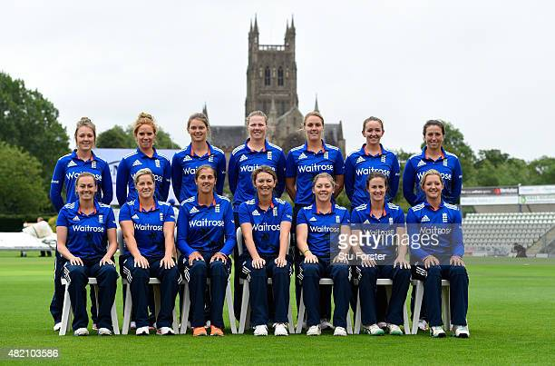 The England squad pose for a picture before the 3rd Royal London ODI of the Women's Ashes Series between England and Australia Women at New Road on...