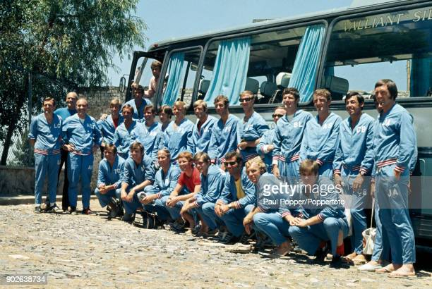 The England squad posing for local photographers alongside their team bus after a training session in Guadalajara during their preparations for the...