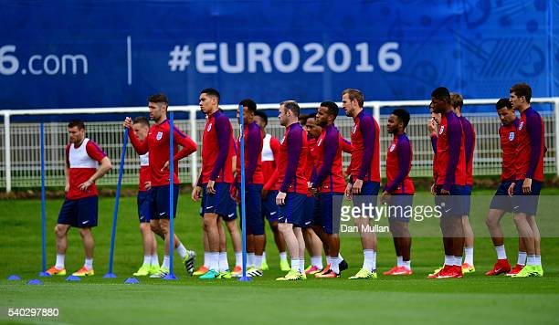 The England squad prepare for a drill during a training session at Stade du Bourgognes ahead of the UEFA Euro 2016 match against Wales on June 15...