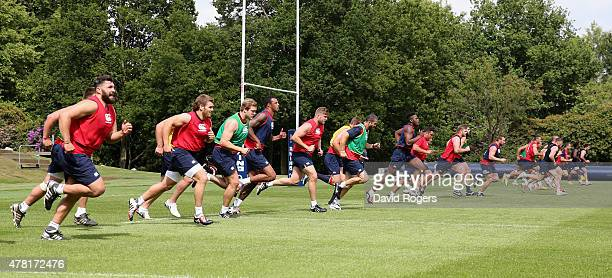 The England squad take part in endurance sprints during the England training session held at Pennyhill Park on June 23 2015 in Bagshot England