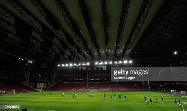The England squad walk out before the England training session at Parken Stadium on February 8 2011 in Copenhagen