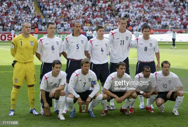The England starting line up pose for the cameras prior to g the FIFA World Cup Germany 2006 Group B match between England and Paraguay at the...