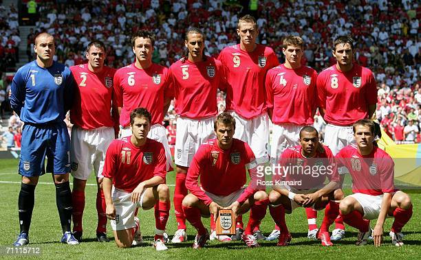 The England starting lineup pose for the cameras prior to the International Friendly between England and Jamaica at Old Trafford on June 3, 2006 in...