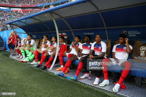 The England subsitutes bench with Marcus Rashford Ashley Young Danny Welbeck Jesse Lingard Jordan Henderson Jack Butland and Jamie Vardy before the...