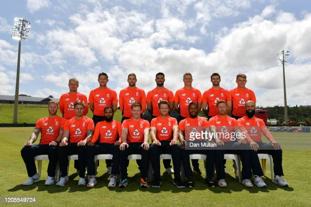 The England T20 players pose for a team photo prior to a training session ahead of the first T20 International between South and England at Buffalo...