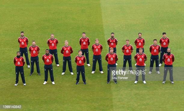 The England T20 squad pose for a socially distanced team photograph during an England Net Session at Emirates Old Trafford on August 27 2020 in...