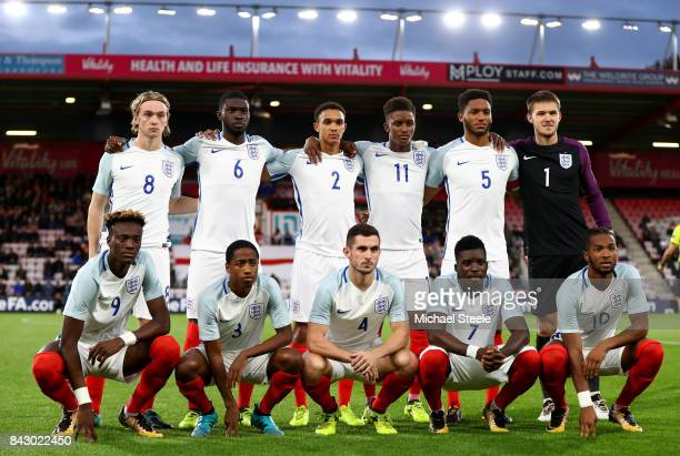 The England team ahead of the UEFA Under 21 Championship Qualifiers between England and Latvia at Vitality Stadium on September 5 2017 in Bournemouth...