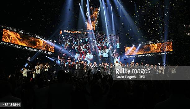 The England team and fans join Take That at the finale during the Wear The Rose Live official England send off event hosted by 02 at The O2 Arena on...