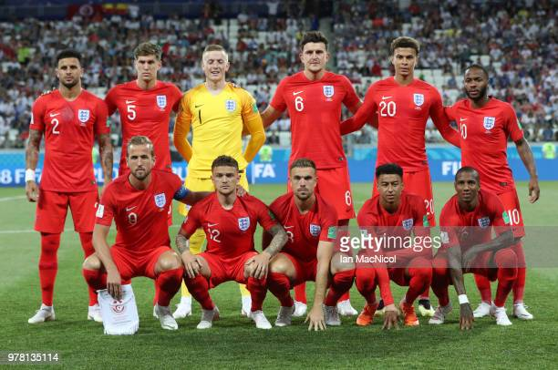 The England team are seen prior to the 2018 FIFA World Cup Russia group G match between Tunisia and England at Volgograd Arena on June 18 2018 in...