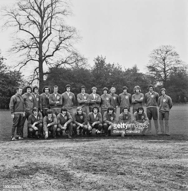 The England team at a training session prior to their FIFA World Cup qualifying match against Wales at Wembley, UK, 24th January 1973. From left to...