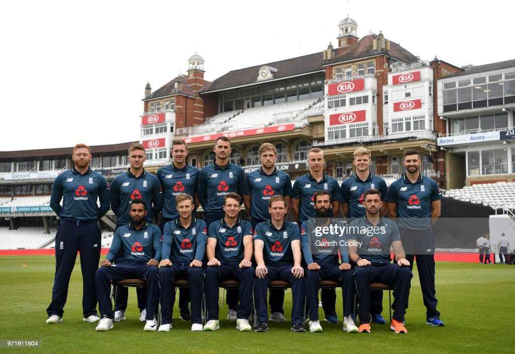 Jonathan Bairstow, Jason Roy, Jake Ball, Alex Hales, David Willey, Tom Curran, Sam Billings and Mark Wood. Front row: Adil Rashid, Joe Root, Jos Buttler, Eoin Morgan, Moeen Ali and Liam Plunkett) at The Kia Oval on June 12, 2018 in London, England.