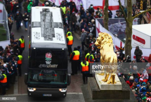 The England team bus arrives at the stadium prior to the NatWest Six Nations match between England and Ireland at Twickenham Stadium on March 17 2018...