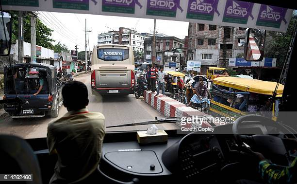 The England team bus is escorted by police convoy through the streets of Chittagong after a nets session at Zohur Ahmed Chowdhury Stadium on October...